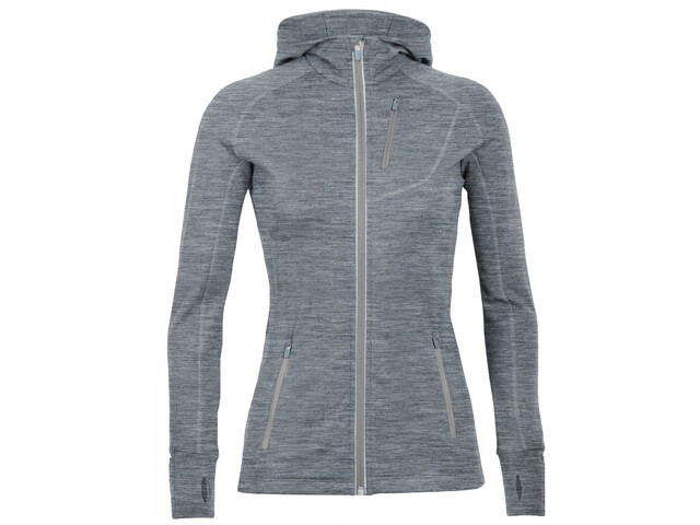 Icebreaker Quantum LS Zip Hood Jacket Damen gritstone heather